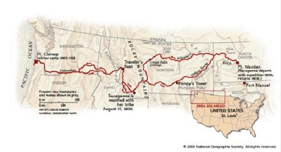 Sacagawea Joins The Lewis And Clark Expedition Sacagawea - Fort clatsop on us map