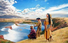 Sacagawea observing the Pacific Ocean